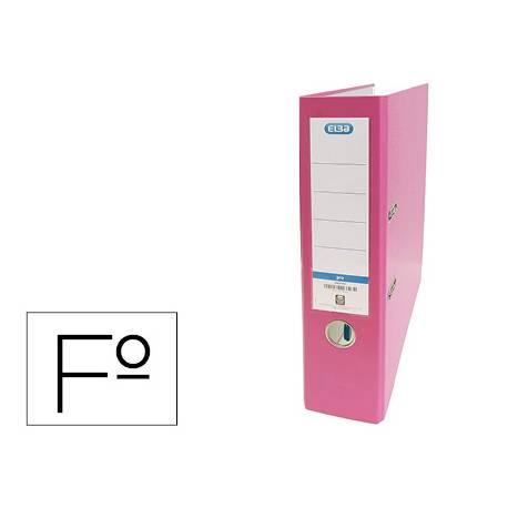 Archivador de palanca Elba Carton forrado PVC Folio Lomo de 80 mm color Rosa