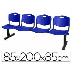 Bancada de espera PYC Pozohondo cuatro asientos de PVC color azul