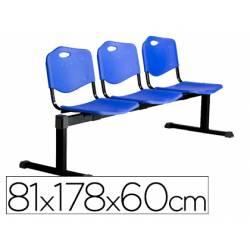 Bancada de espera PYC Pozohondo tres asientos de PVC color azul