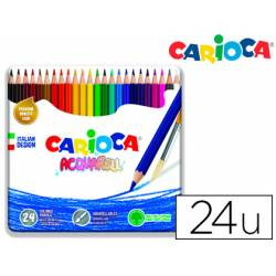Lapices de colores Carioca Acuarelable Caja Metalica de 24 colores