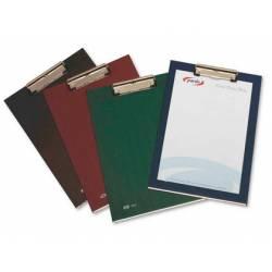 Portanotas plastico folio con pinza superior Pardo burdeos