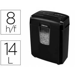 Destructora de Documentos Fellowes 8CD Corte en partículas 8 Hojas 14L Nivel seguridad DIN P-4 Color Negro