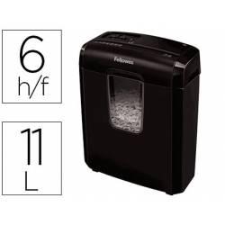 Destructora de Documentos Fellowes 6C Corte en partículas 6 Hojas 11L Nivel seguridad DIN P-4 Color Negro