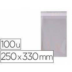 Bolsa de plastico Apli 250x330 mm autocierre adhesivo. Paquete de 100