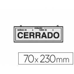 Cartel metálico Rotulauto Abierto y cerrado Plata 23x7 cm