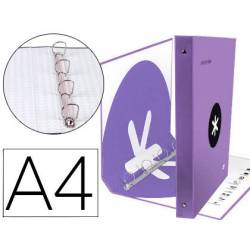 CARPETA 4 ANILLAS 40 MM MIXTAS LIDERPAPEL ANTARTIK A4 FORRADA COLOR LAVANDA LILA