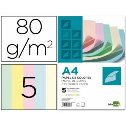 Papel color marca Liderpapel A4 80 g/m2 Colores Surtidos 500 hojas