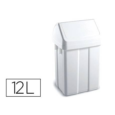 Papelera contenedor TTS Plástico con tapadera 12 L color Blanca