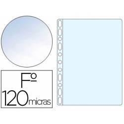 Funda Multitaladro Q-Connect Tamaño Folio 120 MC Cristal Bolsa 10 uds