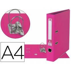 Archivador de palanca marca Liderpapel A4 rosa compresor metalico