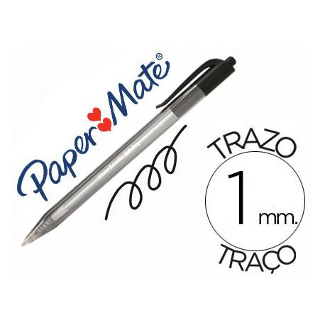 Boligrafo Paper Mate Inkjoy 100 retráctil negro 1 mm