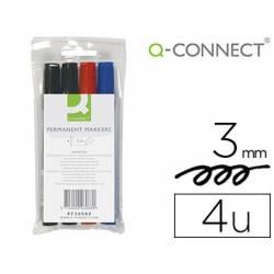 Rotulador Q-Connect permanente estuche de 4 colores surtidos punta redonda trazo 3.0 mm