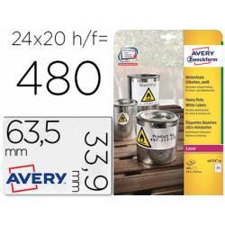 Etiqueta adhesiva marca Avery poliester blanco 63,5x33,9 mm para impresora laser pack de 480 unidades
