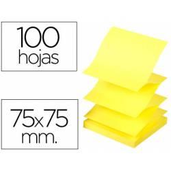 Bloc de notas adhesivas marca Q-connect 75x75 mm 100 hojas amarillo neon Zig-Zag