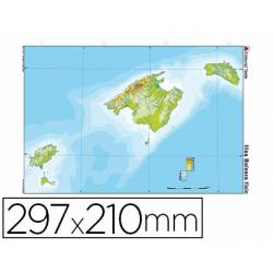 Mapa Mudo de Islas Baleares DIN A4 Físico Color