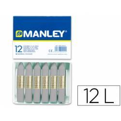 Lapices cera blanda Manley caja 12 unidades gris
