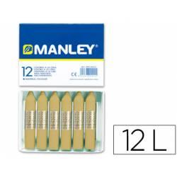 Lapices cera blanda Manley caja 12 unidades tierra sombra natural