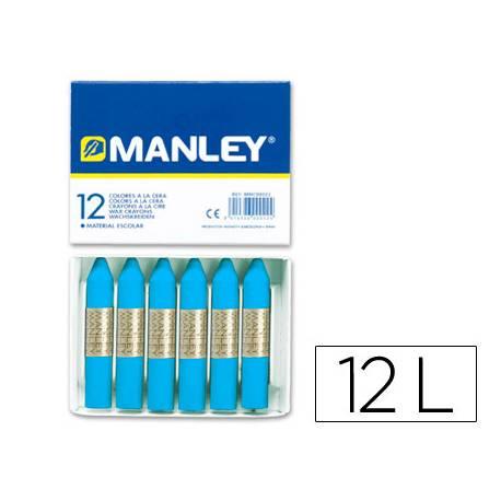 Lapices cera blanda Manley caja 12 unidades azul cobalto