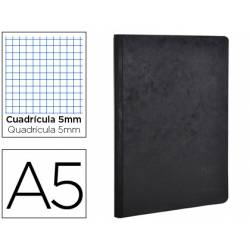 Libreta Clarefontaine color negro A5 tapa cartulina cuadriculado 5mm 96 hojas