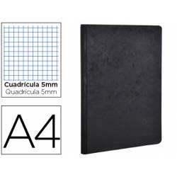 Libreta Clarefontaine color negro A4 tapa cartulina cuadriculado 5mm 96 hojas