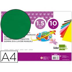 Goma eva liderpapel color verde paquete de 10 hojas