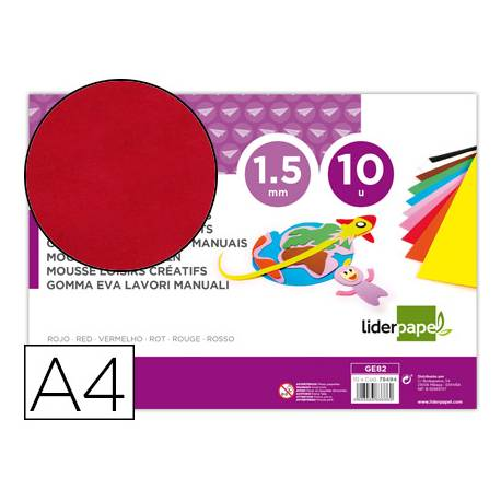 Goma eva liderpapel color rojo paquete de 10 hojas
