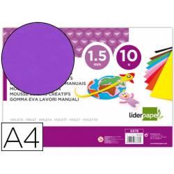 Goma eva liderpapel color violeta paquete de 10 hojas