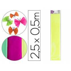 Papel crespon Liderpapel color amarillo fluorescente rollo 50x25cm 34g/m2