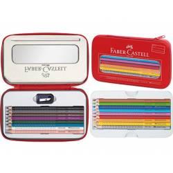 Plumier marca Faber Castell metálico con cremallera color rojo
