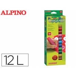 Tempera en barra Alpino caja de 12 Colores Surtidos