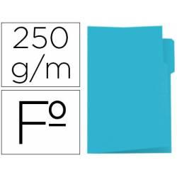 Subcarpeta cartulina color azul con pestaña izquierda