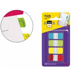 Banderitas Post-it ® separadoras Index rígidas dispensador 4 colores 15,8 x 38 mm