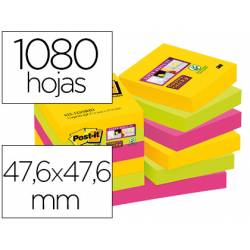 Post-it ® Bloc de notas adhesivas super sticky varios colores 47,6 x 47,6 mm 90 hojas pack 12 blocs
