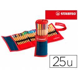 Rotulador Stabilo Point 88 Rollerset Estuche 25 Colores