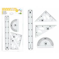 Juego Liderpapel escuadra 10cm cartabon 14 cm regla 30 cm y semicirculo color transparente