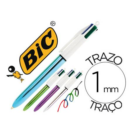 Boligrafo Bic 4 colores Shine 0,4 mm metalizado