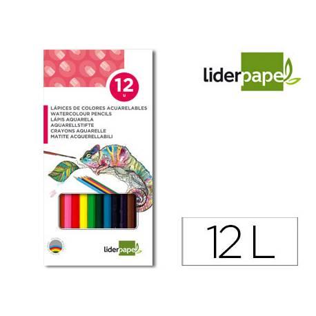 Lápices de colores Liderpapel acuarelables 12 colores