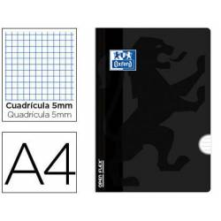 Libreta escolar Oxford encolada Din A4 cuadricula 5mm color negro