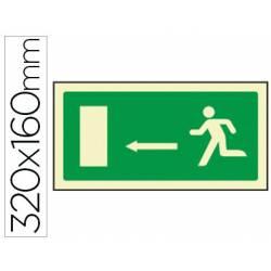 Señal marca Syssa salida emergencia flecha izquierda