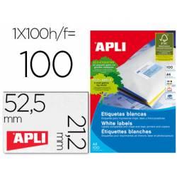 Etiqueta adhesiva Apli 52,5 x 21,2 mm para fotocopiadora laser ink-jet caja 100 hojas din a4