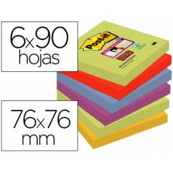 Pack 6 blocs de Post-it ® 76 x 76 mm encelofanados