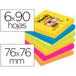 Pack de blocs Post-it ® 76 x 76 mm encelofanados