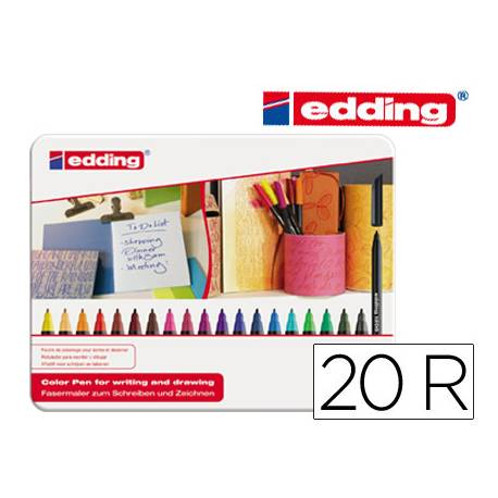 Rotulador Edding 1200 caja de 20 colores surtidos