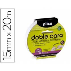 Cinta adhesiva marca Plico doble cara 15mm x 20mt
