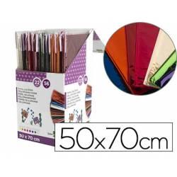 Papel celofan liderpapel 50x70 expositor 56 bolsas 5 hojas 8 colores surtidos