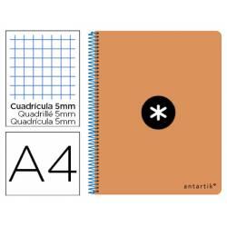 Bloc Antartik Folio Cuadrícula tapa Dura 80 hojas 100g/m2 Naranja Flúor con margen