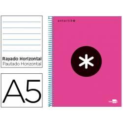 Bloc Antartik A5 Rayado Horizontal tapa Forrada 120 hojas 100g/m2 Rosa 5 bandas color