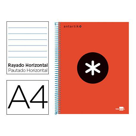 Bloc Antartik A4 Rayado Horizontal tapa Forrada 120 hojas 100g/m2 Rojo 5 bandas de color