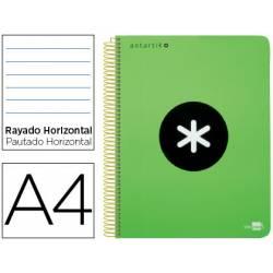 Bloc Antartik A4 Rayado Horizontal tapa Plástico120 hojas 100g/m2 Verde Fluor 5 bandas color