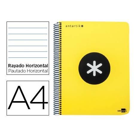 Bloc Antartik A4 Rayado Horizontal tapa Plástico 120 hojas 100g/m2 Amarillo 5 bandas color